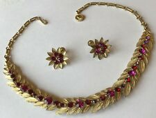 VINTAGE LISNER SIGNED PINK RHINESTONE NECKLACE & EARRINGS