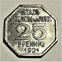 Notgeld der Stadt Mühlheim an der Ruhr 25 Pfennig 1921 - Spruch - vz / xf