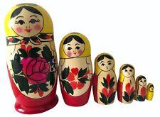 Wooden Russian Nesting Babushka Matryoshka 6 Dolls Set Hand Painted Yellow Top