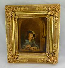 """Öl-Gemälde auf Holz - """"Frau"""" (unbekannter Maler) / Goldrahmen (Holz)"""