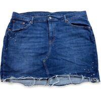 Levi's Denim Studded Stars Mini Skirt Fringe Distressed Size 18W Western