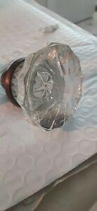 Single Antique Glass and Brass Door Knob threaded