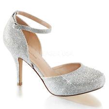 Silver Vintage Bridal Ballroom Dance Heels Swing Dance 40s Shoes size 6 7 8 9 10