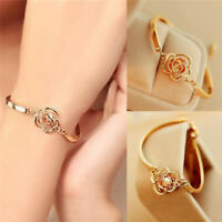 1 Pair Women Gold Plated Crystal Rose Flower Bangle Cuff Bracelet Jewelry Gift