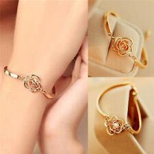 Fashion Women Gold Plated Crystal Rose Flower Bangle Cuff Charm Bracelet Jewelry