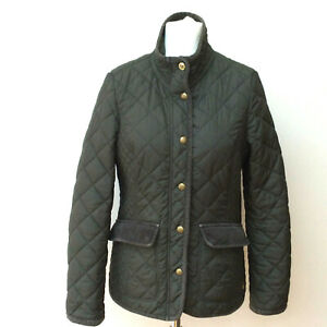 Joules Jacket Size 12 Quilted Padded Elbow Patches Pockets Green