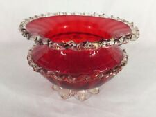 Vintage Murano Ruby Glass Dish With Decorative Frill (ref B903)