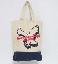 American Eagle Outfitters In Flight Ivory Blue Cotton Canvas Tote Bag New NWT