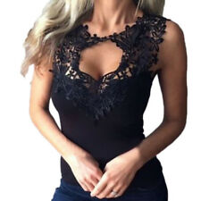New Women Solid Lace Perspective Sleeveless Slim Fit Top Tank Vest Camisole Tee