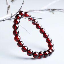 Crystal Round Beads Stretch Bracelet Y3407 Genuine Natural 8mm Wine Red Garnet