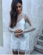 Zara Sold Out Rare Tulle White Silver Embellished Mesh Dress Size Medium