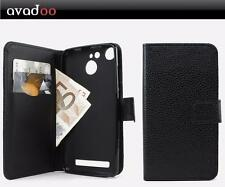 avadoo® Archos 50b Cobalt Flip Leder Case Cover Schwarz vernäht Tasche Hülle