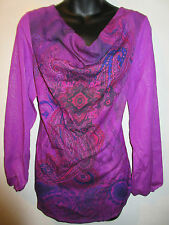 Top Large Purple Paisley Silver Glitter Cowl Neck Tunic Silky NWT G845