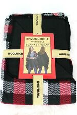 New Woolrich Reversible Blanket Wrap Womens Buffalo Check Plaid Red Black Poncho