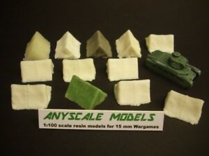 wargames scenery. Small tents for 15mm. 1/100 scale. x 12 models (529)