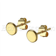 Womens Girls Simple Charm Gold Tone 925 Sterling Silver Round Ear Studs Earrings