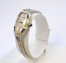 W534-Antique Hoffrers 18k White Gold Diamond Sapphire Art Deco Ladies Wristwatch