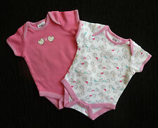Baby clothes GIRL newborn 0-1m 2 pink/pink&white birds/hearts bodysuits SEE SHOP