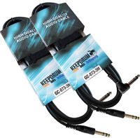 KEEPDRUM 2x GC-073 3m Stereo-Audiokabel Klinke 6,3mm Winkelstecker
