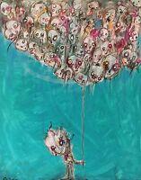GUS FINK Art ORIGINAL Painting modern outsider surreal Brut lowbrow I HOLD ON