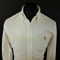 Polo Ralph Lauren Mens THICK Oxford Shirt SMALL Long Sleeve White SLIM FIT