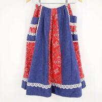 Vintage Carefree Fashions Bandana Prairie Skirt Full A-Line Lace Boho Festival