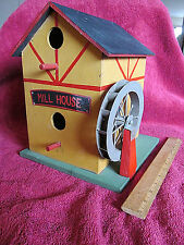 Home Decor Birdhouse, Wooden - Town House/Mill Design - Indoor/Outdoor