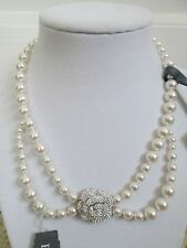 NWT Auth Eliot Danori Crystal Camellia Flower White Pearl Collar Necklace $125
