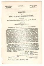 Resolution Legislature of Kentucky Re: Rebuilding Dam Cumberland Island