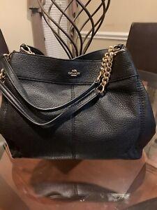 Authentic Coach Lexy Black Chain Pebbled Leather Shoulder Bag Purse