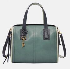New Original Fossil Emma Satchel Green/Grey Leather bag ZB6967449 £169