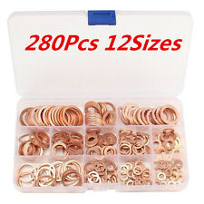 280Pcs 12 Sizes Assorted Solid Copper Crush Washers Seal Flat Ring Set With Case