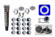 50 x 12mm Self Cover New Button Earring Stainless Steel Bezel Stud Rim Finish