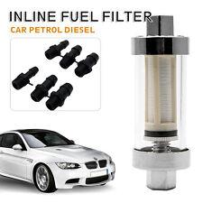 Universal Chrome Glas Kraftstofffilter Benzinfilter Filter 6mm 8mm 10mm neu