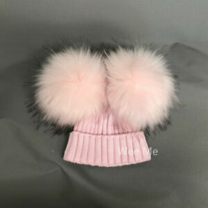 New Arrival Stunning Baby Girl Pink Mega Fur Double Pom Hat 0-1 Y/1-3 Y