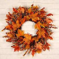 Artificial Maple Leaf Wreath Fall Wreath Wall Door Home Decor for Thanksgiving
