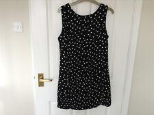 Femme Noir + Blanc Pois Sans Manches Robe/Tunique en atmosphère Taille UK10