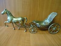 B34 - VINTAGE BRASS HORSE DRAWN CARRIAGE