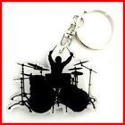 BATTERIE PORTE CLE ! Batteur Percussion Caisse Fut Cymballe Tom Silhouette Drums