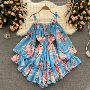 Lady Jumpsuit Culotte Dress Cold Shoulder Floral Puff Sleeve Ruffle Chiffon