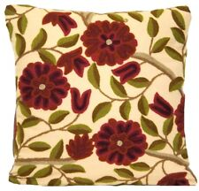 """Flowers Cushion Cover Embroidered Marvic Fabric Textiles  Square 16"""""""