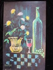 AUTHENTIC MID CENTURY MODERN EAMES ERA flowers Fischer 67 OIL PAINTING fine art