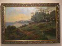 Antique vintage gilt framed original signed oil painting circa 1911