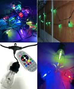 48ft 24 BULBS Festoon LED Outdoor Colour Garden Lights Waterproof RGB REMOTE