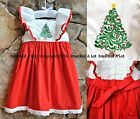 Smocked A Lot Girls Oh Christmas Tree Dress Red Santa Ruffled White Boutique