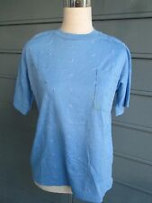 "Vintage pale blue woman's T-shirt w/eyelet ""look"" -- never worn - really cute!!"