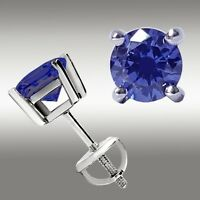 1.00 CT TANZANITE STUD EARRINGS 14K WHITE GOLD ROUND CUT BASKET SCREW BACK 5MM
