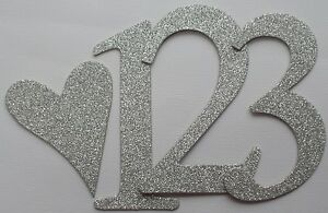"""4"""" SILVER GLITTER - Wedding Table Chipboard Numbers: Customized Color / Quantity"""