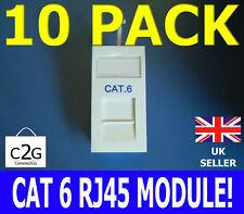 10x CAT6 GIGABIT RJ45 UTP Low Profile 25x50 Euro Network Module Data Outlet