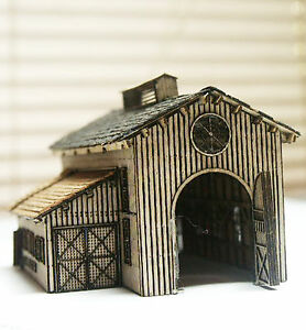 ONE STALL ENGINE HOUSE Z Scale Model Railroad Structure Wood Laser Kit RSL4003